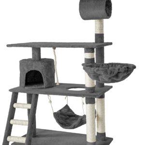 TecTake Katzen Kratzbaum mit Kuschel- und Spielmöglichkeiten, 141cm hoch